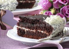 Готовый торт режем  на порционные куски