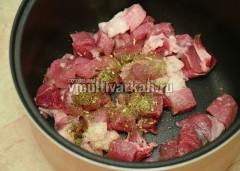 Мясо выложите в чашу, добавьте специи и масло