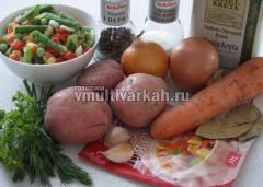 Соберите все ингредиенты для супа