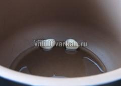 В чашу налейте масло и выложите зубчики чеснока