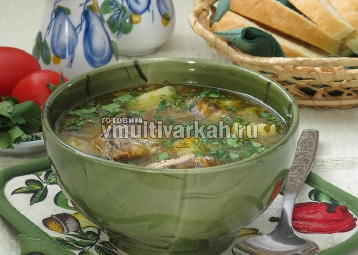 суп с рыбными консервами в мультиварке