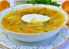 Подавайте суп горячим, можно со сметаной