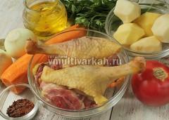 Подготовьте продукты, утку помойте и порежьте