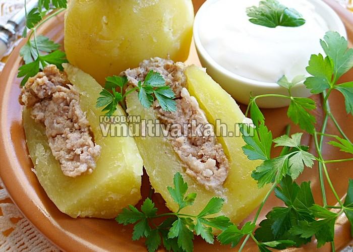 Фаршированный картофель в мультиварке рецепт с фото