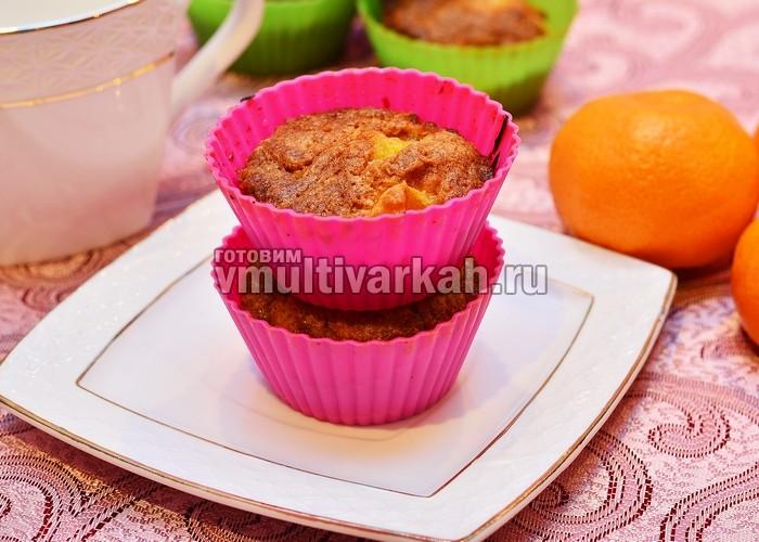 Кексы в формочках в мультиварке с мандаринами