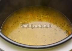 Лапшу добавить в суп за 5 минут до готовности