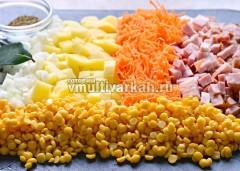 Подготовка ингредиентов к пригтовлению горохового супа