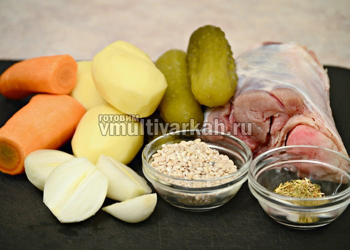 Ингредиенты для рассольника с перловкой