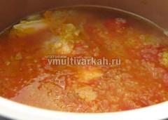Добавьте воду, томат и соль, тушите полчаса