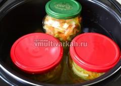 Поставьте на салфетку в чашу мультиварки, залейте водой почти до ободка и стерилизуйте 10 минут при 95 градусах