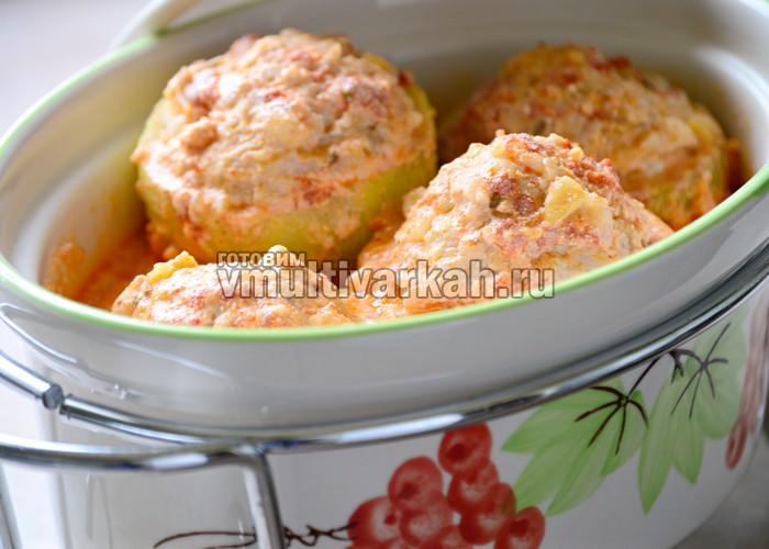 кабачки с мясом и рисом в мультиварке