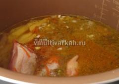Залейте водой и включите режим суп или тушение на 1 час