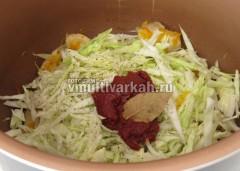 Добавьте соль, перец, лавровый лист и томатную пасту