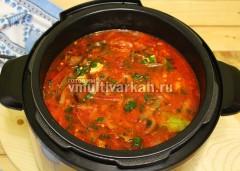 Перемешайте и готовьте еще 1 минуту в режиме суп под давлением