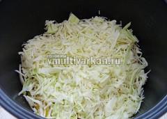 Добавьте капусту, пожарьте 5 минут, затем влейте воду и тушите 30 минут в режиме Тушение