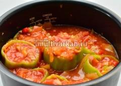 Залейте перцы томатным соком с мякотью и добавьте воды, посолите